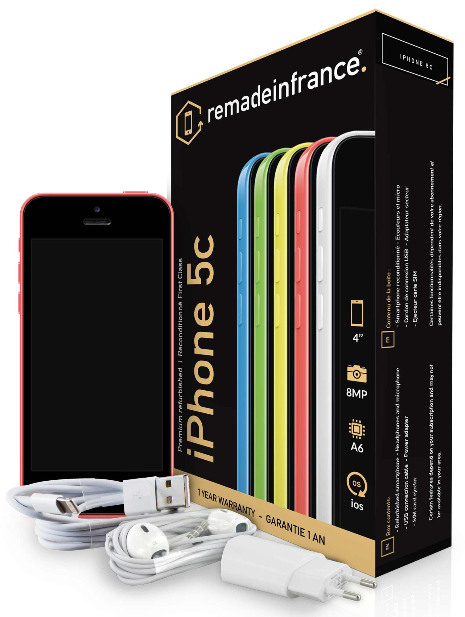 REMADEINFRANCE - iPhone 5C - 16 Go - Rose - Reconditionné (2327 L 1/R)