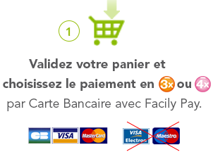 1° Validez votre panier et choisissez le paiement en 3X ou 4X